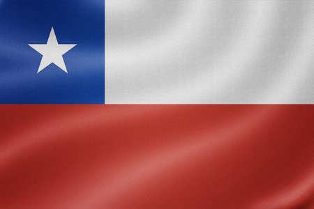 bandera de chile: Bandera de Chile en el fondo de textura de tela Foto de archivo