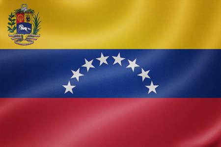 venezuela flag: Venezuela flag on the fabric texture background Stock Photo