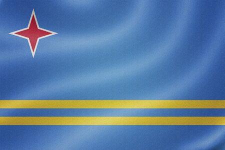 aruba flag: Aruba flag on the fabric texture background