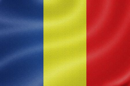 chad flag: chad flag on the fabric texture background Stock Photo