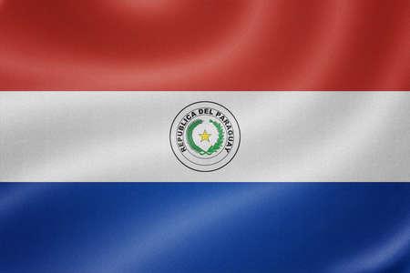 bandera de paraguay: Bandera de Paraguay en el fondo de textura de tela Foto de archivo