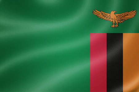 zambia flag: Zambia flag on the fabric texture background