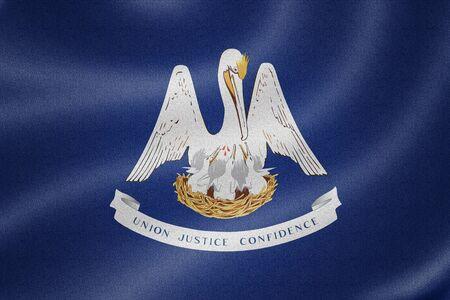 louisiana flag: Louisiana flag on the fabric texture background Stock Photo