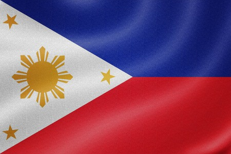 Philippines flag on the fabric texture background