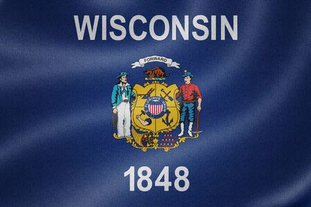 wisconsin flag: Wisconsin flag on the fabric texture background