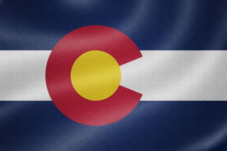 colorado flag: Colorado flag on the fabric texture background Stock Photo