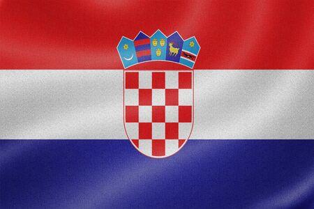 bandera croacia: Bandera de Croacia en el fondo de textura de tela