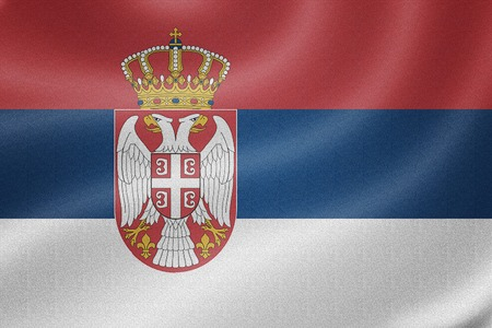 sovereignty: Serbia flag on the fabric texture background