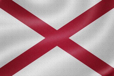 alabama flag: Alabama flag on the fabric texture background