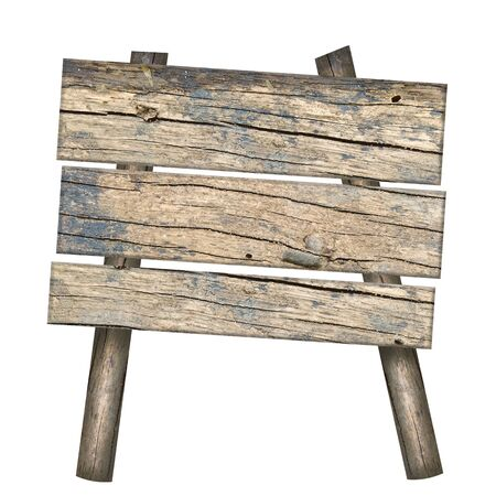 old sign: Old Wooden sign isolated on white Stock Photo