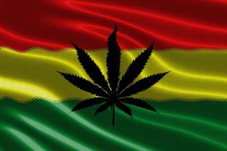 reggae: motif de Rasta sur le drapeau texture de tissu agitant