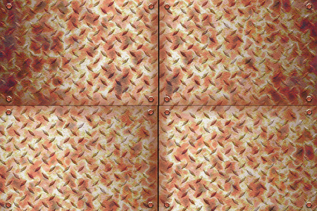 polished floor: Old Metal diamond plate and rusty metal Stock Photo