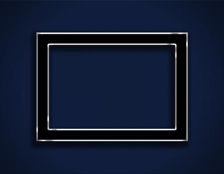 black empty board: White frame on blue background