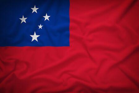 sovereignty: Samoa flag on the fabric texture background,Vintage style
