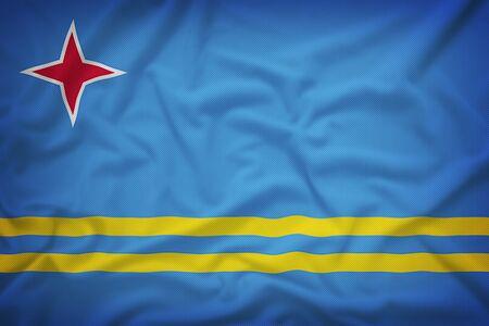 aruba flag: Aruba flag on the fabric texture background,Vintage style Stock Photo