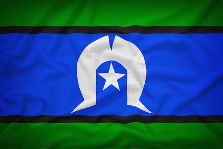 islanders: Torres Strait Islanders flag on the fabric texture background,Vintage style Stock Photo