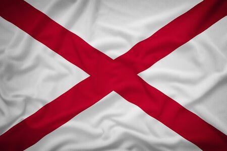 alabama flag: Alabama flag on the fabric texture background,Vintage style