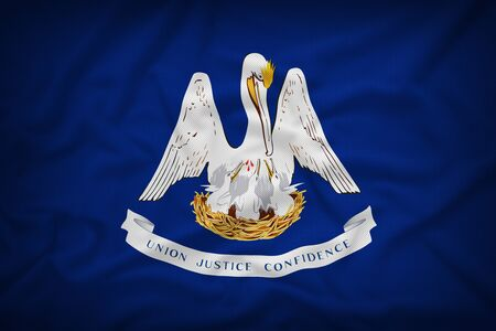louisiana flag: Louisiana flag on the fabric texture background,Vintage style