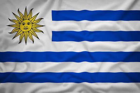 bandera de uruguay: Bandera de Uruguay en el fondo de textura de tela, estilo vintage