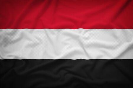 sovereignty: Yemen flag on the fabric texture background,Vintage style Stock Photo
