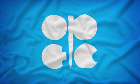 opec: OPEC flag on the fabric texture background,Vintage style