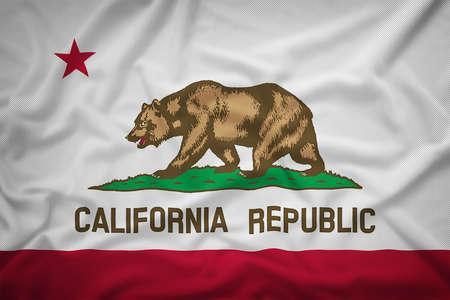 california flag: California flag on the fabric texture background,Vintage style