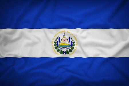 el salvador flag: El Salvador flag on the fabric texture background,Vintage style Stock Photo
