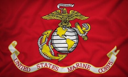 United States Marine Corps flag on the fabric texture background,Vintage style 写真素材