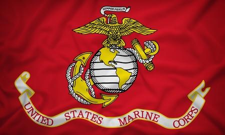marine: United States Marine Corps flag on the fabric texture background,Vintage style Stock Photo