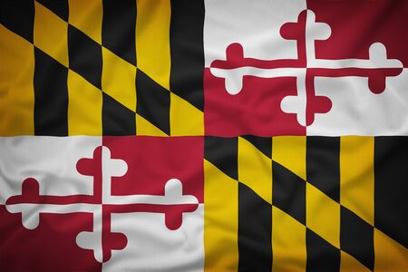 maryland flag: Maryland flag on the fabric texture background,Vintage style Stock Photo