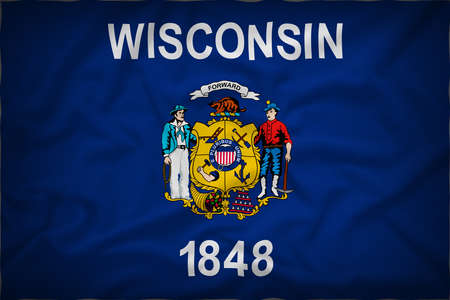 wisconsin flag: Wisconsin flag on the fabric texture background,Vintage style