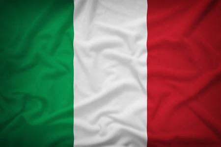italy flag: Bandera de Italia en el fondo de textura de tela, el estilo de la vendimia