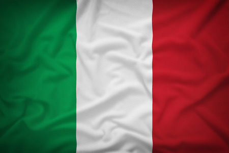 Italy flag on the fabric texture background,Vintage style