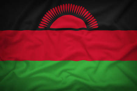 malawi flag: Malawi flag on the fabric texture background,Vintage style
