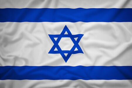 Israel flag on the fabric texture background,Vintage style