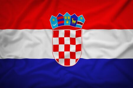 bandera croacia: Croatia flag on the fabric texture background,Vintage style