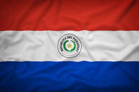 bandera de paraguay: Bandera de Paraguay en el fondo de textura de tela, estilo vintage