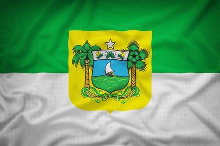 sovereignty: Rio Grande do Norte flag on the fabric texture background,Vintage style Stock Photo