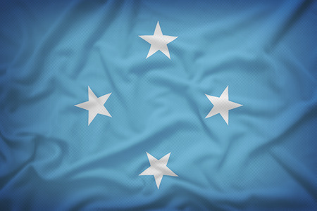 federated: Federated States of Micronesia flag on the fabric texture background,Vintage style Stock Photo