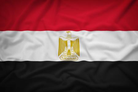 bandera egipto: Bandera de Egipto en el fondo de textura de tela, estilo vintage