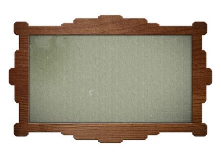 foto carnet: Marco de madera aislado en blanco