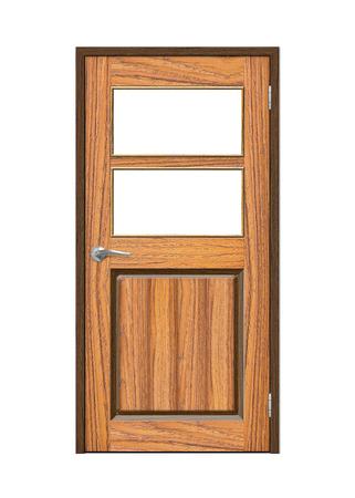 doorknob: Wooden door isolated on white background
