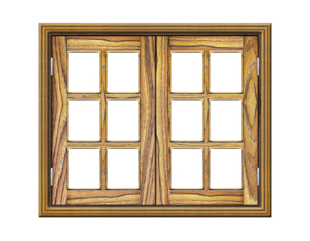 wooden window: Wooden window isolated on white background Stock Photo