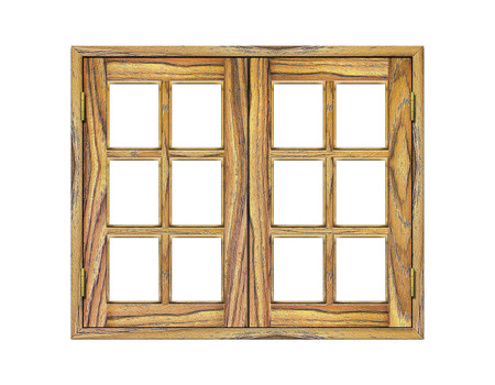 rafter: Wooden window isolated on white background Stock Photo