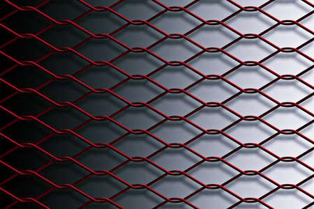 metal mesh: Red metal mesh fence
