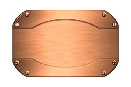 placa bacteriana: Metálica de la placa de cobre con tornillos aislados en blanco