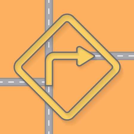 detour: Traffic signs on Street road vector Background Illustration