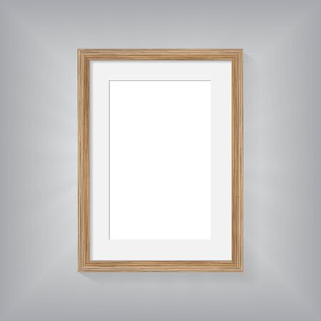 a4 borders: Wooden frame on wall gray backgroung Illustration