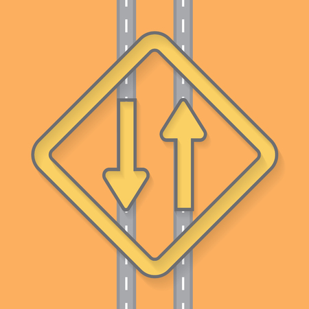Traffic signs on Street road vector Background Illustration