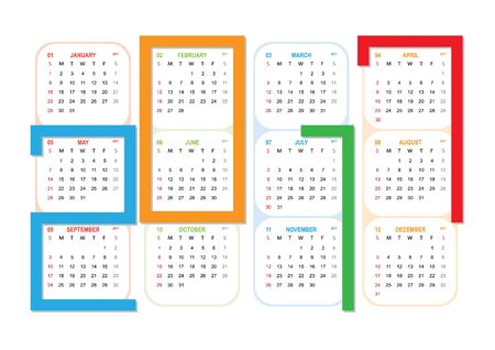 Calendar for 2017 year on white background